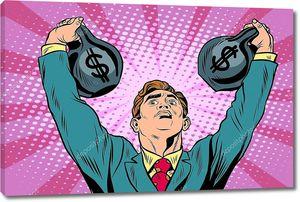 Бизнесмен силач поднимает деньги