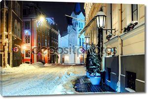 Ночной город в зимний период. Рига, Латвия