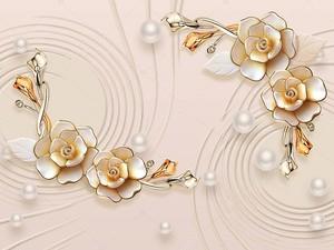 Белый жемчуг разных размеров, большие позолоченные цветы