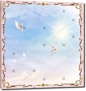 Два голубя в прямоугольном небе