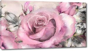 Крупная роза акварелью