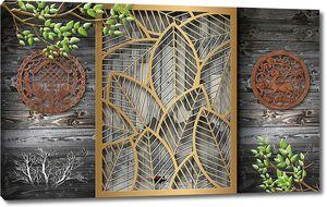 Ажурная рамка из листьев