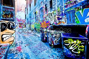 Мельбурн - 15 сентября: Уличное искусство неопознанных художника. Мельбурн