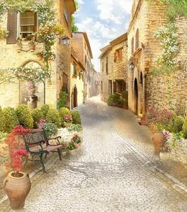 Солнечный переулок со скамейкой