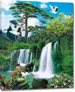 Отдых журавлей у водопада