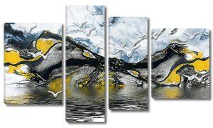 Контуры гор с чайками