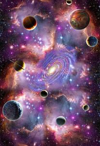 Планета и галактика в центре