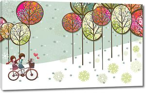 Дети на велосипеде с деревьями