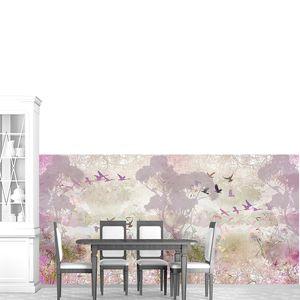 Абстрактный рисунок с птицами