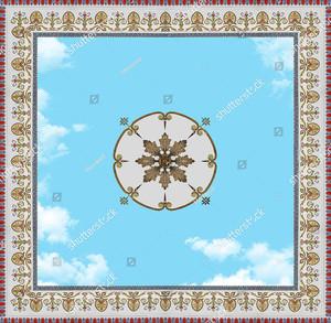 Небо в обрамлении орнамента квадрат