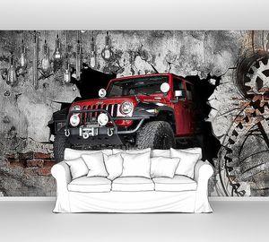 Красный джип выезжает из бетонной стены