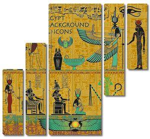 Набор древних египетских божеств, с золотой Египетский фон, с иероглифами