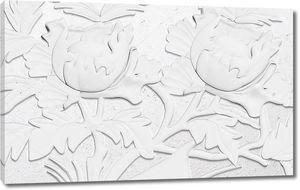 3d иллюстрация, белый фон, тиснением, большие тюльпаны