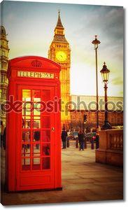 Закат в Лондоне с телефонной будки и Биг-Бен