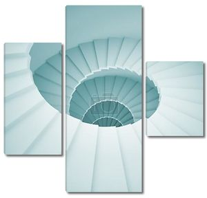 винтовая лестница синяя 3д