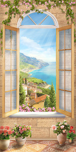 Вид из окошка на итальянское побережье