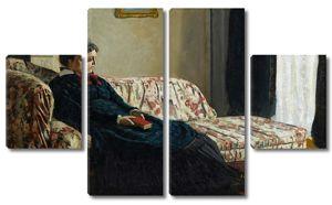 Моне Клод. Медитация, мадам Моне на диване, 1870-71