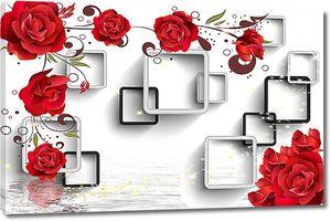 Абстракция. Розы на фоне рамочек над водой