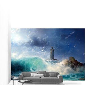 Пейзаж волна и маяк