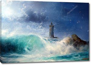 Пейзаж с маяком в шторм