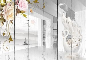 Проем в стене со скульптурой лебедя