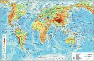 Физическая карта мира на русском языке