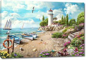 Лодки и яхты у маяка