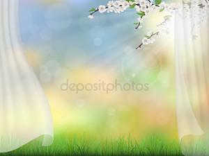 ветви весной фон занавес