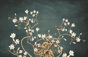 Ветка сакуры на темном фоне
