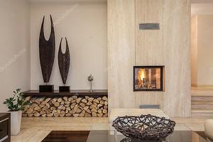 Травертин дом: современная гостиная
