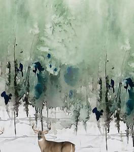 Олень в лесу акварелью