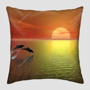 Закат и дельфины