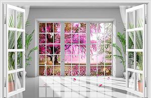 Вид из панорамного окна на вишневый сад