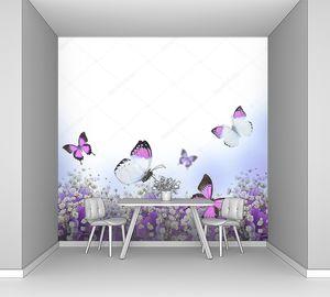 Голубые гортензии и бабочка