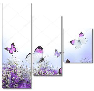 Цветы в букет, голубые гортензии и бабочка