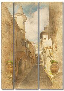 Светлая фреска с улицей