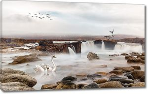 Лебеди на каменистом водопаде