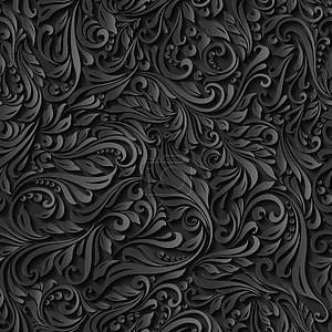 Бесшовные абстрактный черный цветочный узор
