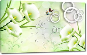 3D зеленый фон, кольца, цветы каллы