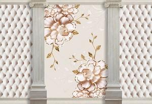 Стены обитые кожей с колоннами и цветами