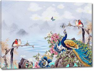 Холмы, серое небо, павлин с птицами
