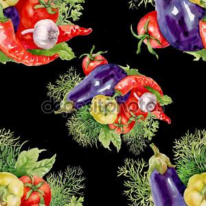 Акварель овощи бесшовный фон