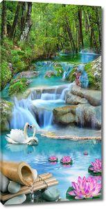 Лебеди на порожистой реке