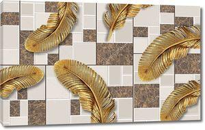 3d иллюстрация, черепичение фон, большие золотые перья