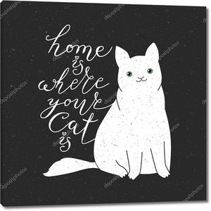 Cute cat character and quote.