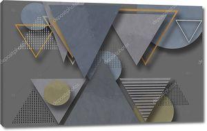Треугольники и круги различных текстур и цветов