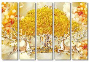 Золотое восточное дерево с антилопами