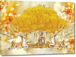 Нефритовое восточное дерево с антилопами