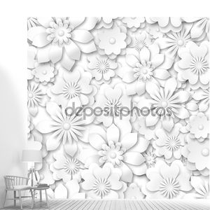 бесшовный паттерн - белые цветы с 3d-эффектом