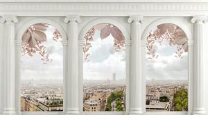 Вид на город через арки